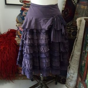 Vintage Anthropologie Ruffle Eggplant Skirt Size 4